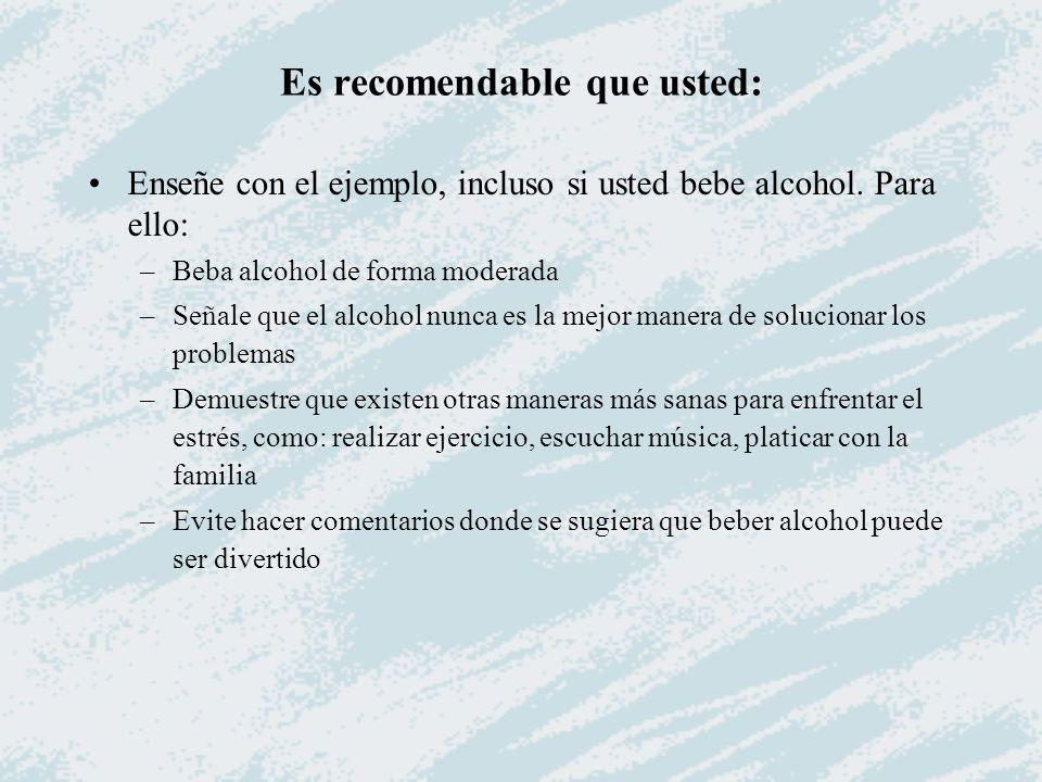 Es recomendable que usted: Enseñe con el ejemplo, incluso si usted bebe alcohol. Para ello: –Beba alcohol de forma moderada –Señale que el alcohol nun