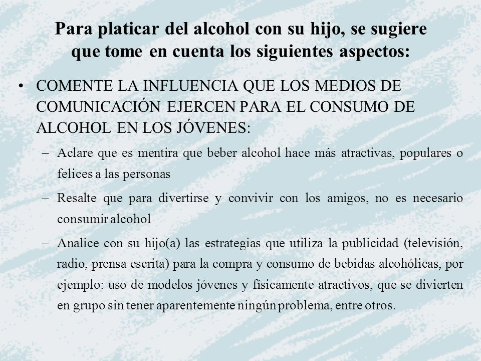 COMENTE LA INFLUENCIA QUE LOS MEDIOS DE COMUNICACIÓN EJERCEN PARA EL CONSUMO DE ALCOHOL EN LOS JÓVENES: –Aclare que es mentira que beber alcohol hace