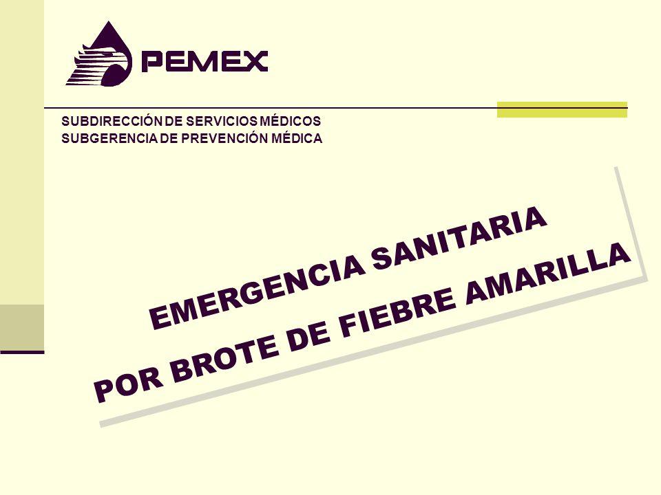 EMERGENCIA SANITARIA POR BROTE DE FIEBRE AMARILLA EMERGENCIA SANITARIA POR BROTE DE FIEBRE AMARILLA SUBDIRECCIÓN DE SERVICIOS MÉDICOS SUBGERENCIA DE P