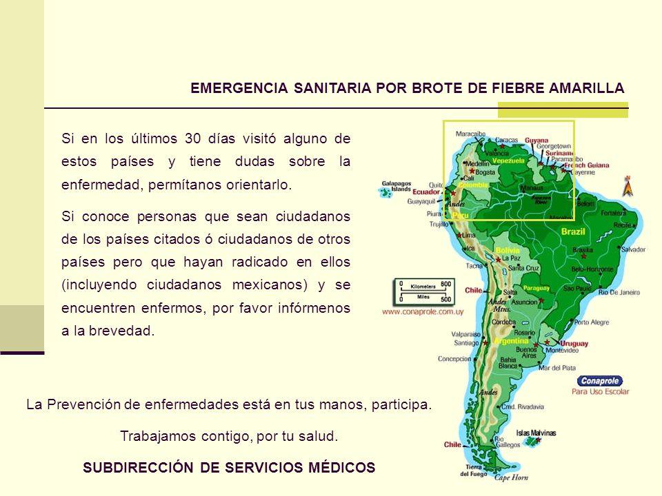 EMERGENCIA SANITARIA POR BROTE DE FIEBRE AMARILLA Si en los últimos 30 días visitó alguno de estos países y tiene dudas sobre la enfermedad, permítano