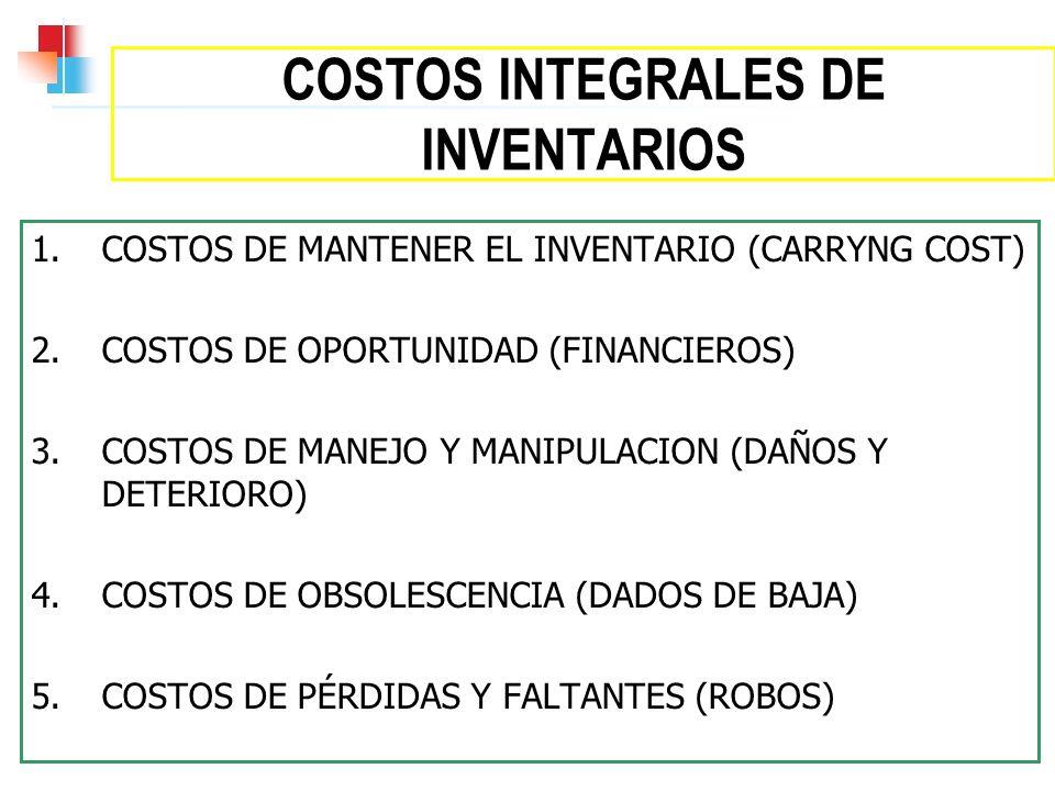 COSTOS INTEGRALES DE INVENTARIOS 1. COSTOS DE MANTENER EL INVENTARIO (CARRYNG COST) 2. COSTOS DE OPORTUNIDAD (FINANCIEROS) 3. COSTOS DE MANEJO Y MANIP