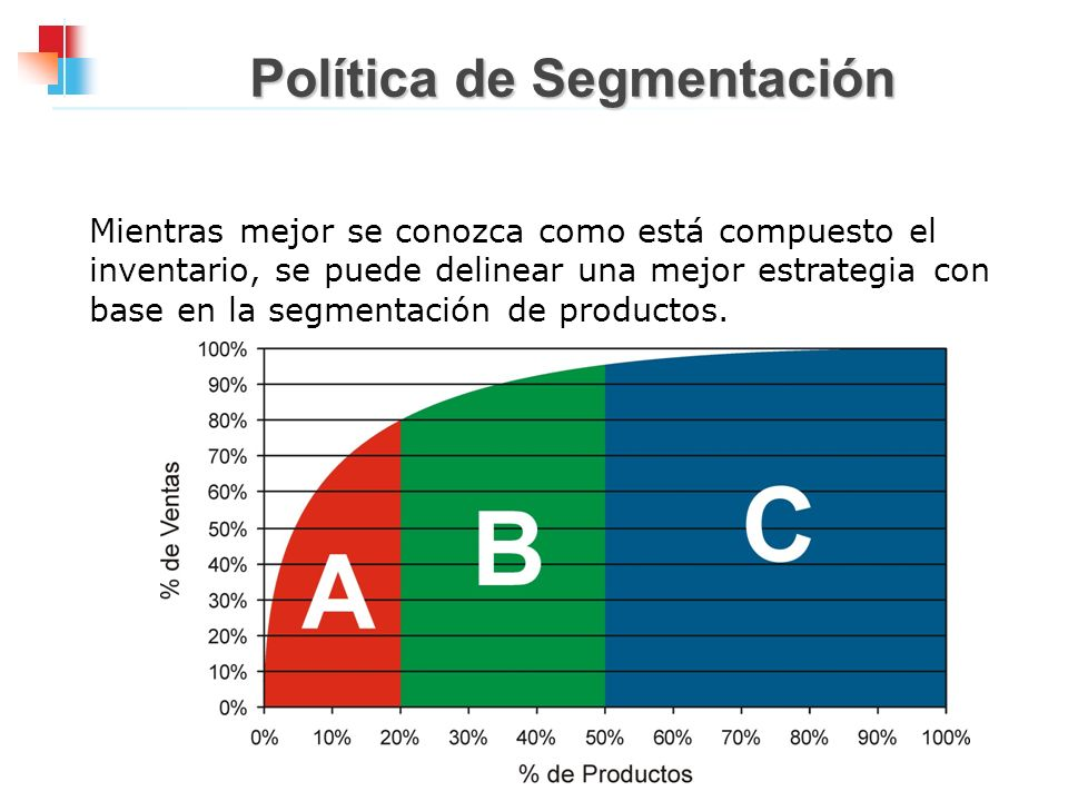 Política de Segmentación Mientras mejor se conozca como está compuesto el inventario, se puede delinear una mejor estrategia con base en la segmentaci