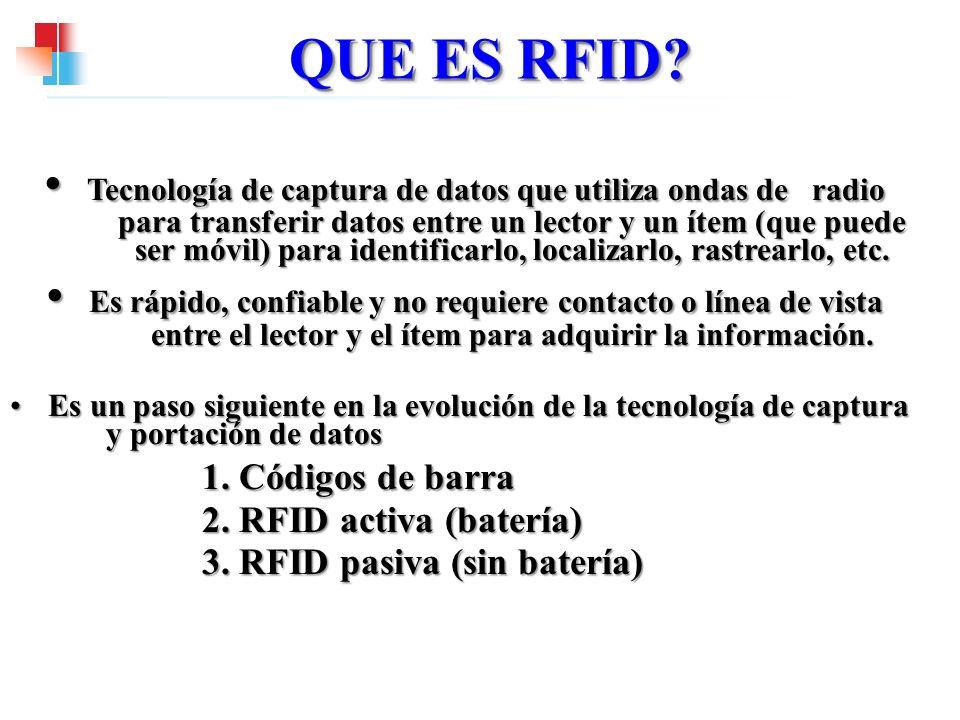 QUE ES RFID? Tecnología de captura de datos que utiliza ondas de radio para transferir datos entre un lector y un ítem (que puede ser móvil) para iden
