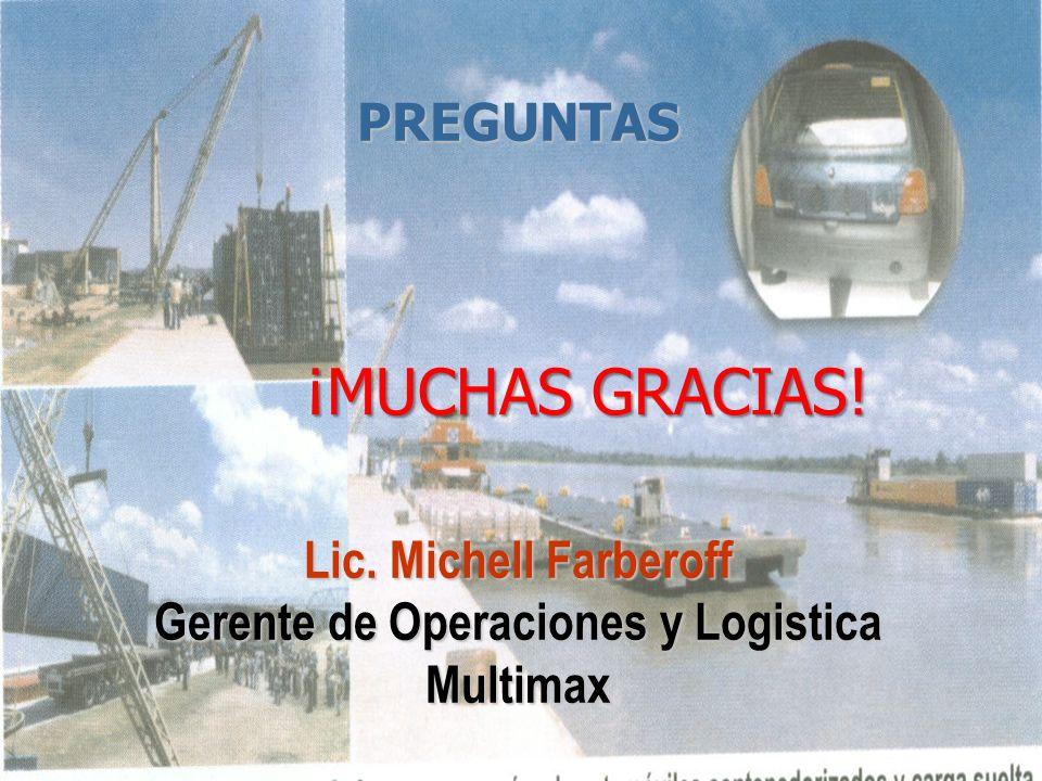 ¡MUCHAS GRACIAS! ¡MUCHAS GRACIAS! PREGUNTAS Lic. Michell Farberoff Gerente de Operaciones y Logistica Multimax