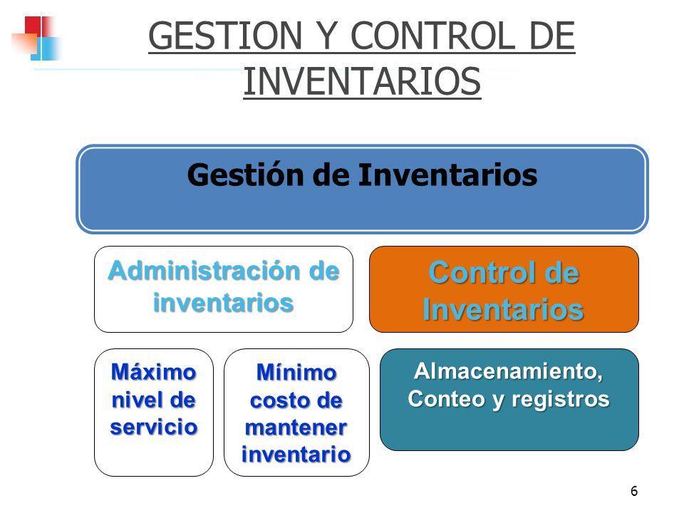 GESTION Y CONTROL DE INVENTARIOS Gestión de Inventarios 6 Administración de inventarios Máximo nivel de servicio Mínimo costo de mantener inventario C