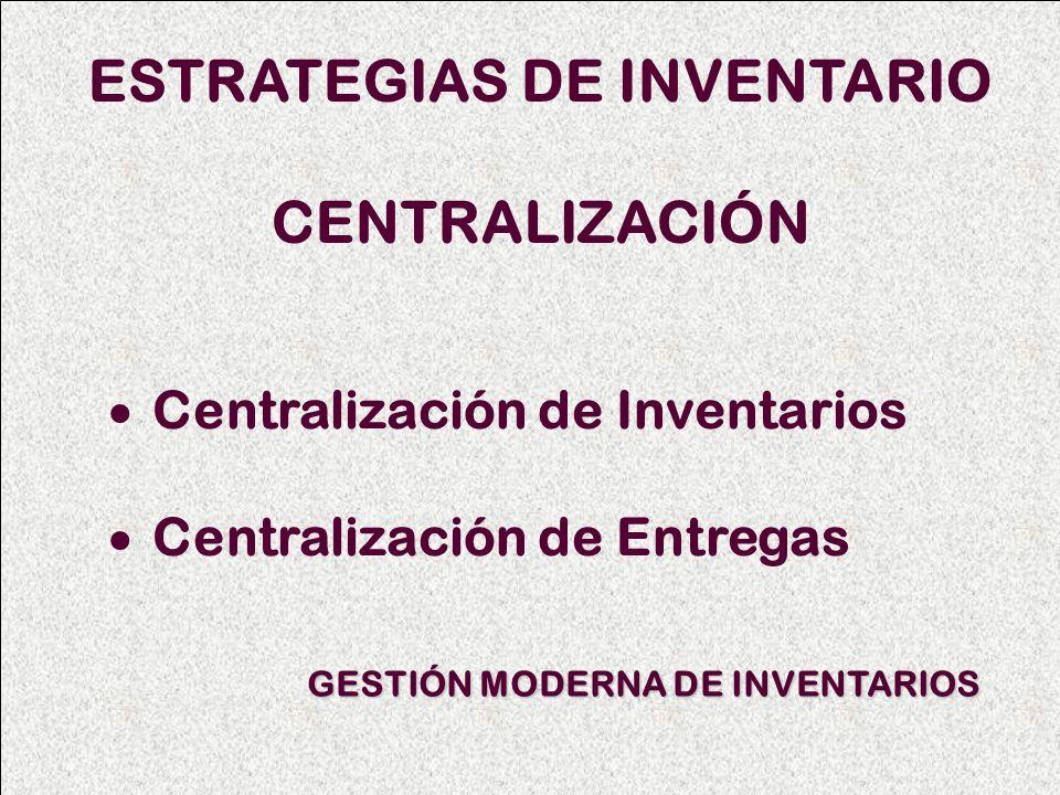 ESTRATEGIAS DE INVENTARIO CENTRALIZACIÓN Centralización de Inventarios Centralización de Entregas GESTIÓN MODERNA DE INVENTARIOS