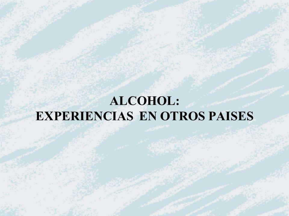 ALCOHOL: EXPERIENCIAS EN OTROS PAISES