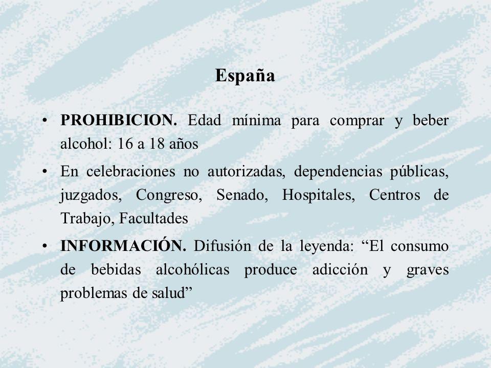 PROHIBICION. Edad mínima para comprar y beber alcohol: 16 a 18 años En celebraciones no autorizadas, dependencias públicas, juzgados, Congreso, Senado