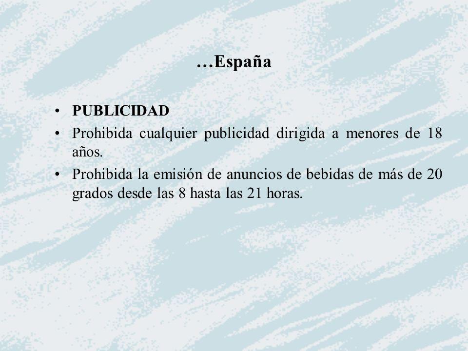 …España PUBLICIDAD Prohibida cualquier publicidad dirigida a menores de 18 años. Prohibida la emisión de anuncios de bebidas de más de 20 grados desde