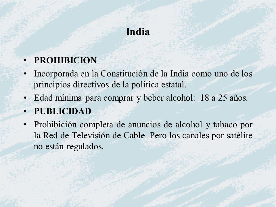 India PROHIBICION Incorporada en la Constitución de la India como uno de los principios directivos de la política estatal. Edad mínima para comprar y