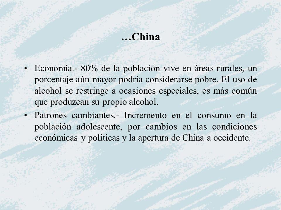 …China Economía.- 80% de la población vive en áreas rurales, un porcentaje aún mayor podría considerarse pobre. El uso de alcohol se restringe a ocasi
