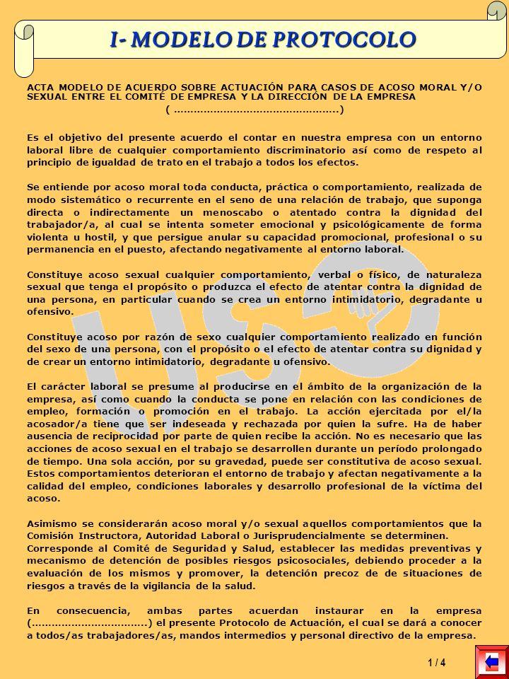 I- MODELO DE PROTOCOLO ACTA MODELO DE ACUERDO SOBRE ACTUACIÓN PARA CASOS DE ACOSO MORAL Y/O SEXUAL ENTRE EL COMITÉ DE EMPRESA Y LA DIRECCIÓN DE LA EMP