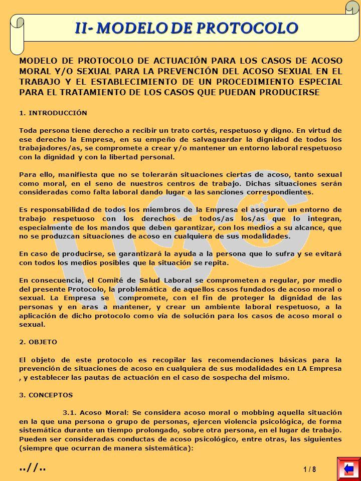 II- MODELO DE PROTOCOLO MODELO DE PROTOCOLO DE ACTUACIÓN PARA LOS CASOS DE ACOSO MORAL Y/O SEXUAL PARA LA PREVENCIÓN DEL ACOSO SEXUAL EN EL TRABAJO Y