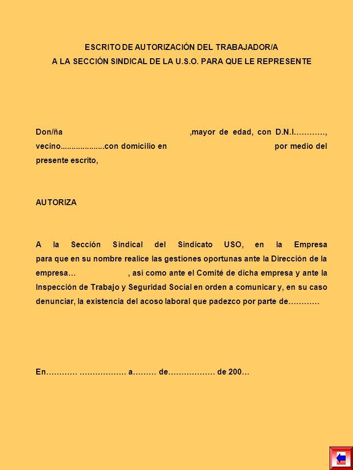 COMUNICACIÓN A LA REPRESENTACIÓN LEGAL DE LOS TRABAJADORES POR PARTE DEL TRABAJADOR AFECTADO Don/ña ( ) mayor de edad, con D.N.I.