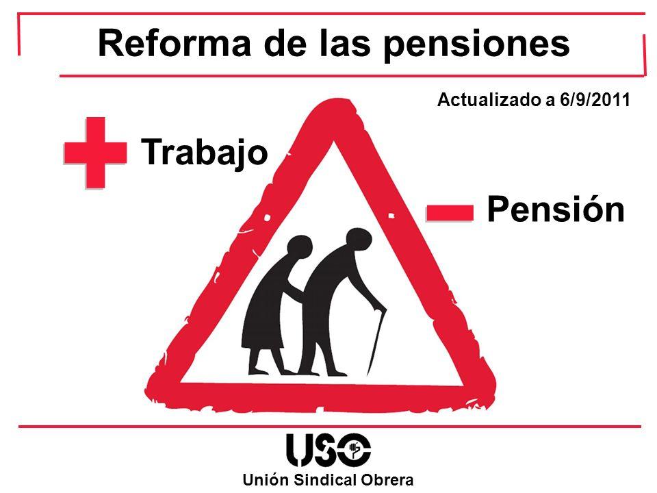Antes Reforma 5.919,6 complemento + 2.500 pensión 52 Reforma de las Pensiones Después Reforma Ejemplo de la reducción de las pensiones más bajas Pensionista de jubilación, soltera, que en el 2011 le correspondería una pensión contributiva de jubilación de 2.500 /anuales Como no alcanza la pensión mínima del 2011 para su situación familiar, es decir 8.419,60 /anuales, tiene derecho a cobrar complemento a mínimos para alcanzar dicha cuantía 7.366,4 /año de pensión 8.419,60 – 2.500 = 5.919,6 de complemento 8.419,6 /año de pensión 4.866,4 tope del complemento de la pensión 4.866,4 complemento + 2.500 pensión