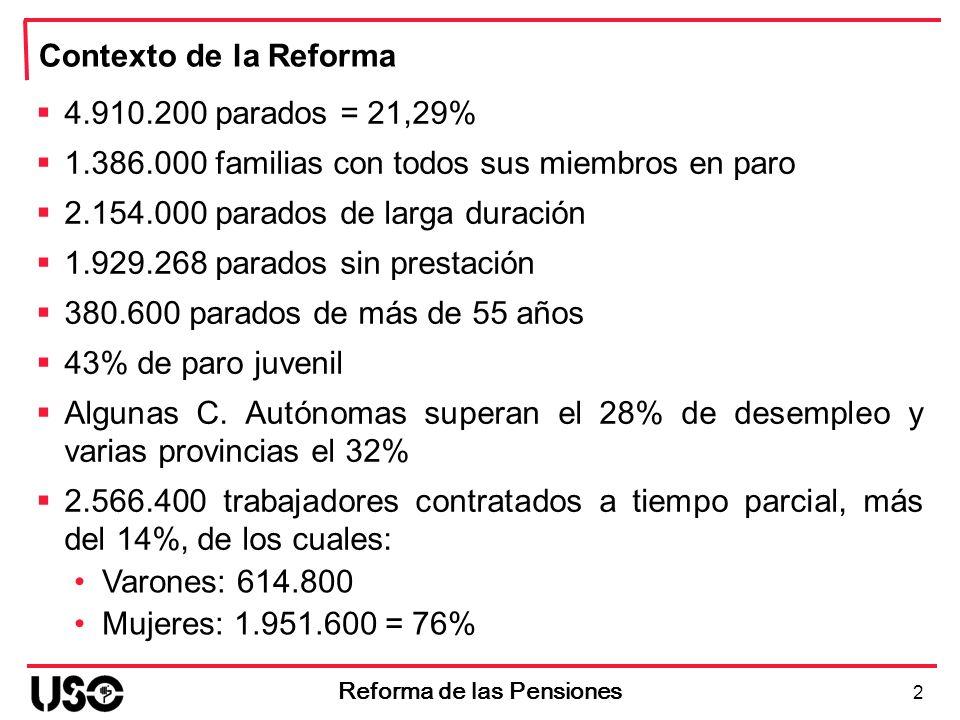 2 Reforma de las Pensiones Contexto de la Reforma 4.910.200 parados = 21,29% 1.386.000 familias con todos sus miembros en paro 2.154.000 parados de la
