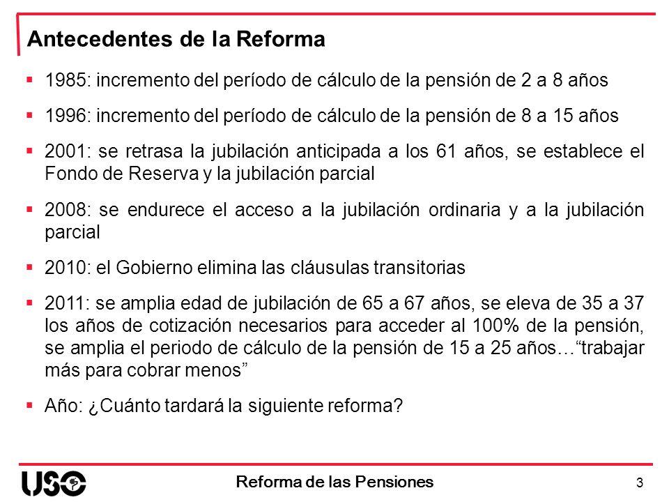 Se amplía el nº de años a tener en cuenta en el cálculo de la pensión Antes Reforma Base Reguladora 15 últimos años cotizados 14 Reforma de las Pensiones Después Reforma Base Reguladora 25 últimos años cotizados Pérdida 15-16%