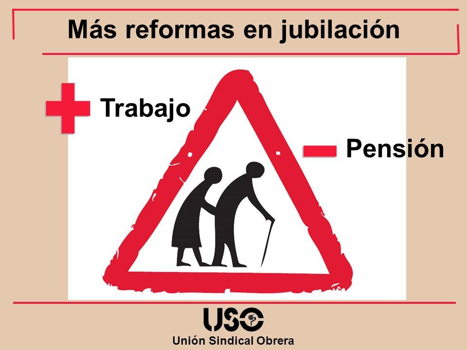 Unión Sindical Obrera Trabajo Pensión Más reformas en jubilación