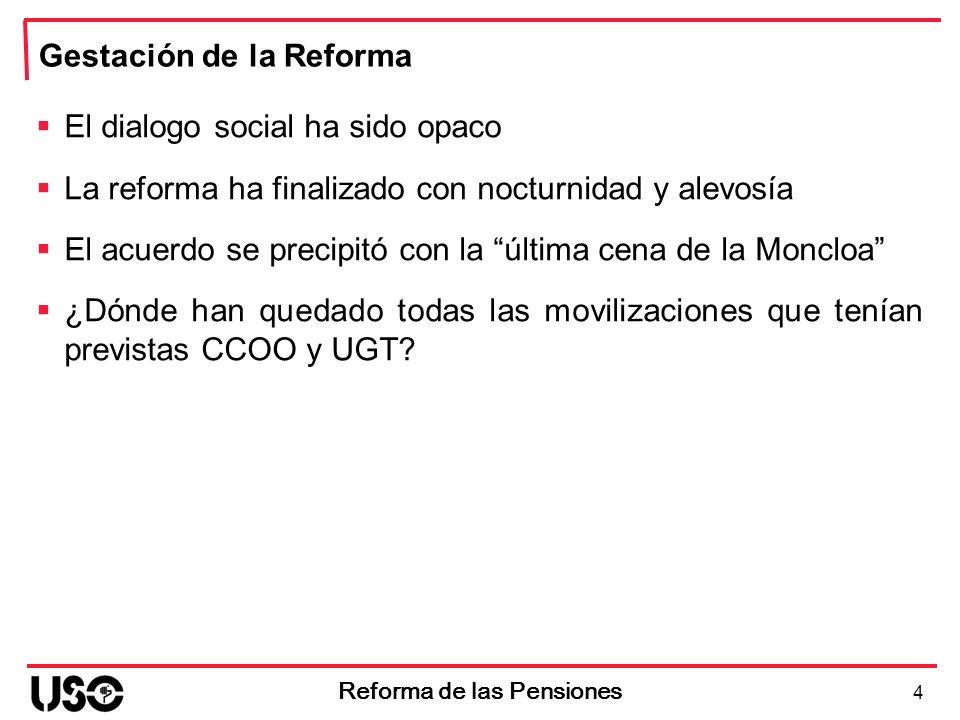 4 Reforma de las Pensiones Gestación de la Reforma El dialogo social ha sido opaco La reforma ha finalizado con nocturnidad y alevosía El acuerdo se p