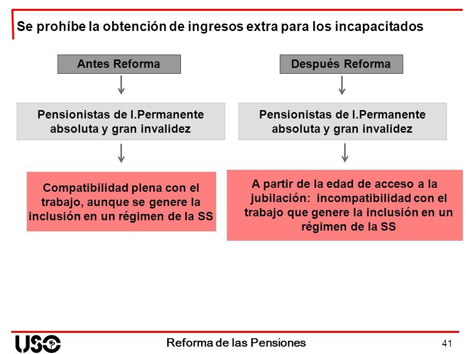41 Reforma de las Pensiones Antes Reforma Compatibilidad plena con el trabajo, aunque se genere la inclusión en un régimen de la SS Después Reforma A