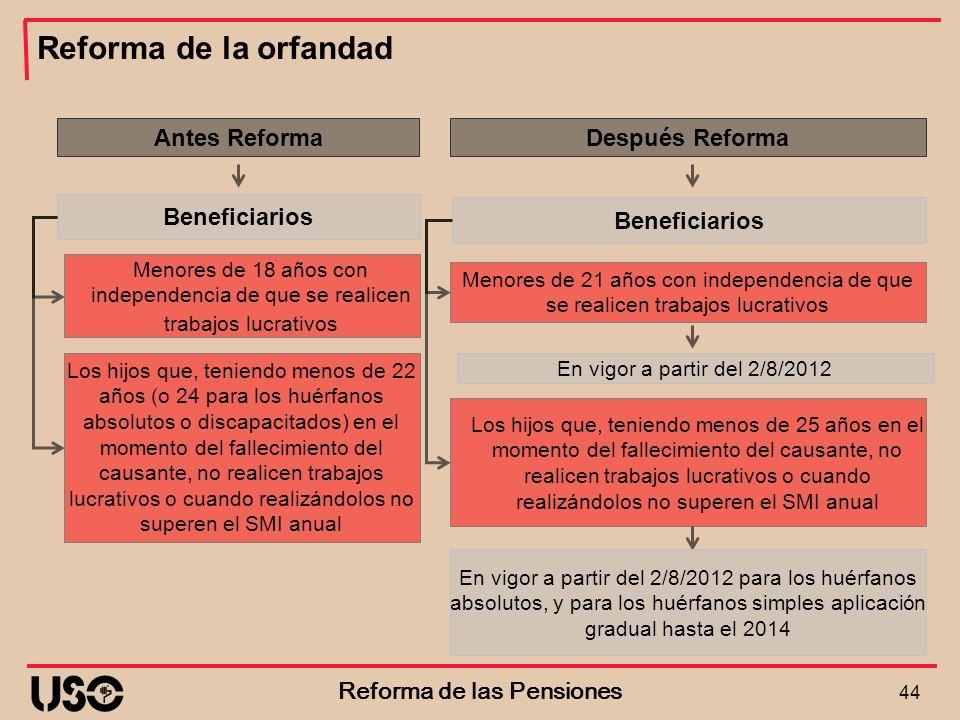 Reforma de la orfandad 44 Reforma de las Pensiones Menores de 18 años con independencia de que se realicen trabajos lucrativos Antes Reforma Beneficia