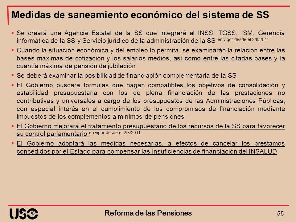 Medidas de saneamiento económico del sistema de SS 55 Reforma de las Pensiones Se creará una Agencia Estatal de la SS que integrará al INSS, TGSS, ISM