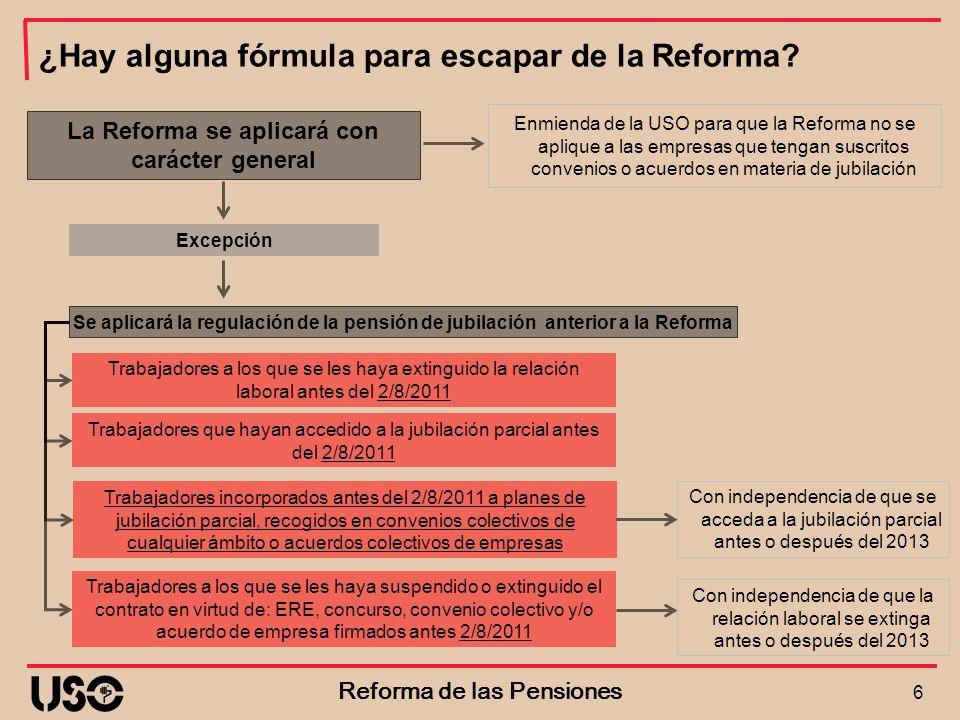 6 Reforma de las Pensiones ¿Hay alguna fórmula para escapar de la Reforma? La Reforma se aplicará con carácter general Trabajadores a los que se les h