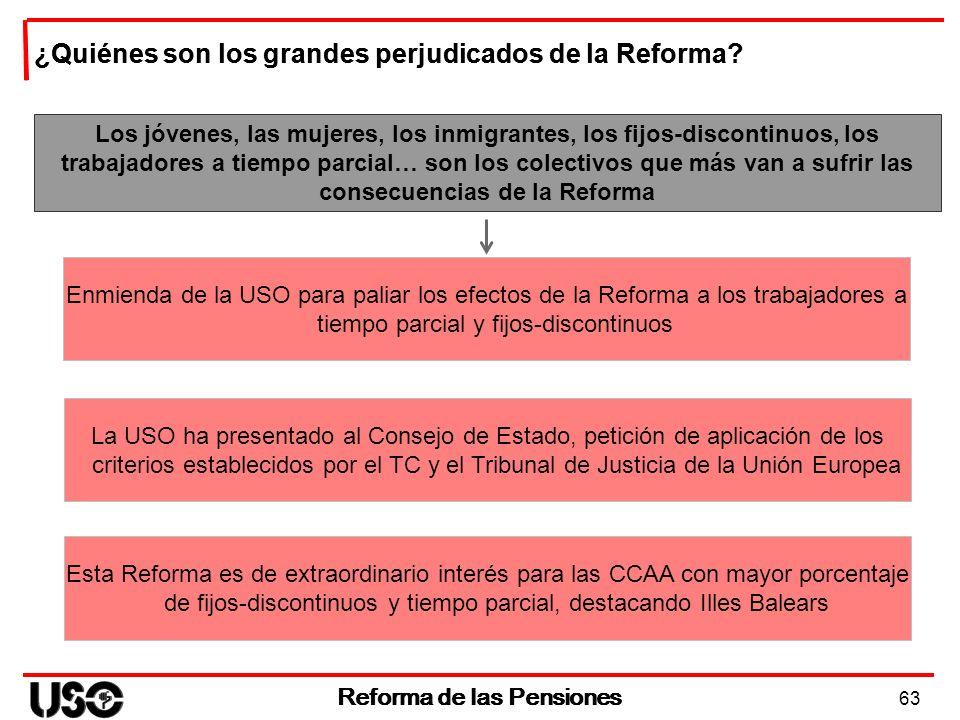 63 Reforma de las Pensiones Los jóvenes, las mujeres, los inmigrantes, los fijos-discontinuos, los trabajadores a tiempo parcial… son los colectivos q