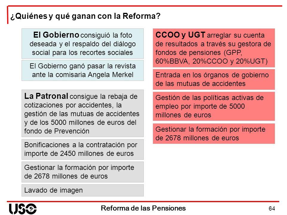 Reforma de las Pensiones ¿Quiénes y qué ganan con la Reforma? El Gobierno consiguió la foto deseada y el respaldo del diálogo social para los recortes