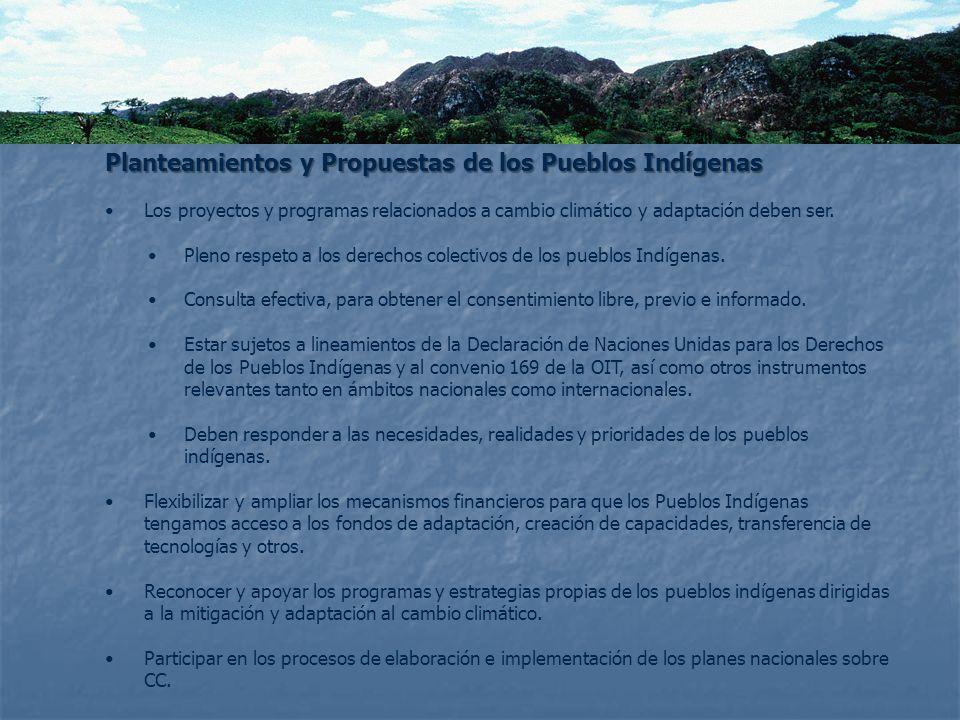Planteamientos y Propuestas de los Pueblos Indígenas Los proyectos y programas relacionados a cambio climático y adaptación deben ser. Pleno respeto a