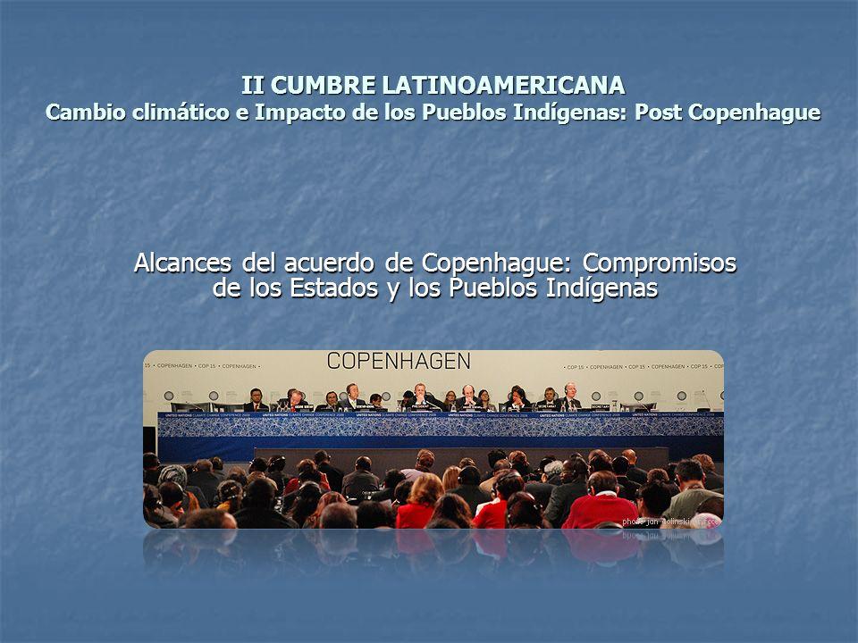 II CUMBRE LATINOAMERICANA Cambio climático e Impacto de los Pueblos Indígenas: Post Copenhague Alcances del acuerdo de Copenhague: Compromisos de los