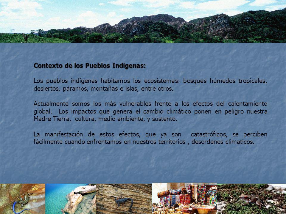 Contexto de los Pueblos Indígenas: Los pueblos indígenas habitamos los ecosistemas: bosques húmedos tropicales, desiertos, páramos, montañas e islas,
