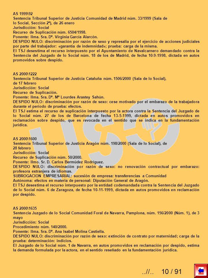 AS 1999\92 Sentencia Tribunal Superior de Justicia Comunidad de Madrid núm. 33/1999 (Sala de lo Social, Sección 2ª), de 26 enero Jurisdicción: Social