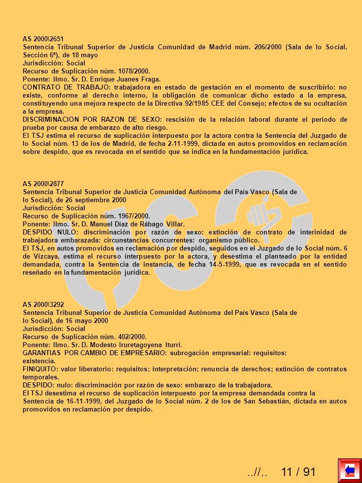 AS 2000\2651 Sentencia Tribunal Superior de Justicia Comunidad de Madrid núm. 206/2000 (Sala de lo Social, Sección 6ª), de 18 mayo Jurisdicción: Socia