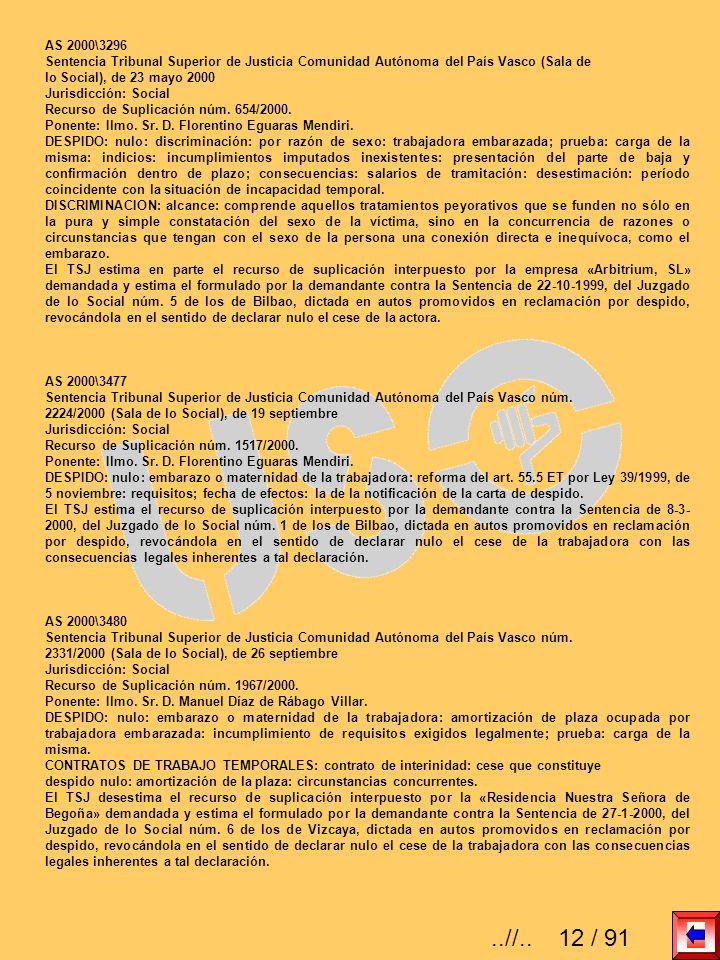 AS 2000\3296 Sentencia Tribunal Superior de Justicia Comunidad Autónoma del País Vasco (Sala de lo Social), de 23 mayo 2000 Jurisdicción: Social Recur