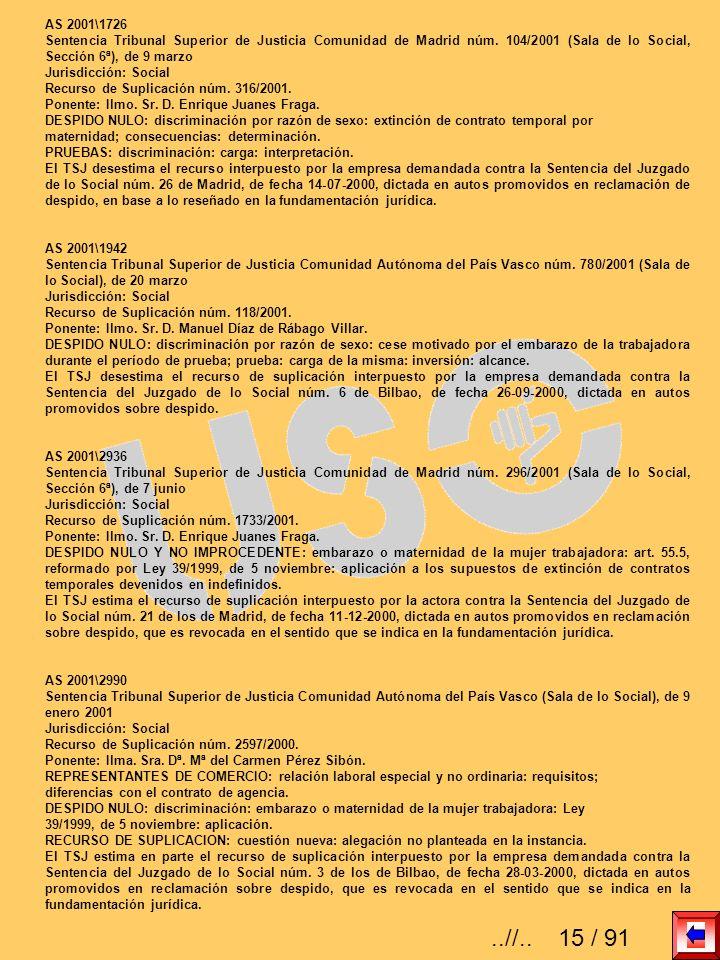 AS 2001\1726 Sentencia Tribunal Superior de Justicia Comunidad de Madrid núm. 104/2001 (Sala de lo Social, Sección 6ª), de 9 marzo Jurisdicción: Socia