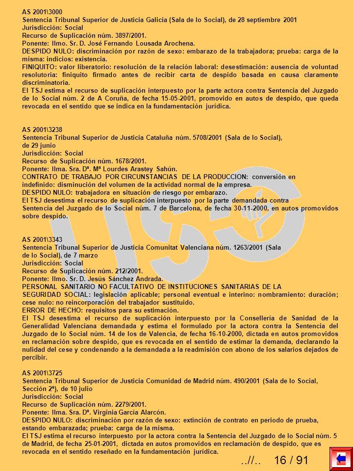 AS 2001\3000 Sentencia Tribunal Superior de Justicia Galicia (Sala de lo Social), de 28 septiembre 2001 Jurisdicción: Social Recurso de Suplicación nú