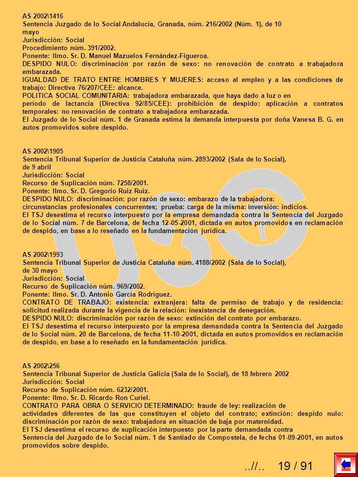 AS 2002\1416 Sentencia Juzgado de lo Social Andalucía, Granada, núm. 216/2002 (Núm. 1), de 10 mayo Jurisdicción: Social Procedimiento núm. 391/2002. P