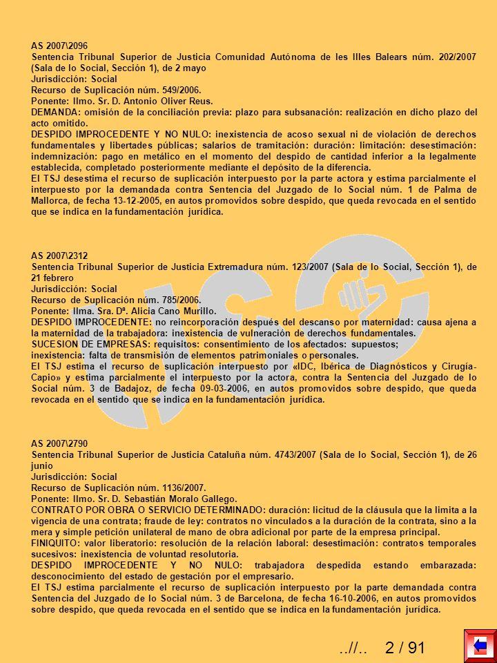 AS 2007\2096 Sentencia Tribunal Superior de Justicia Comunidad Autónoma de les Illes Balears núm. 202/2007 (Sala de lo Social, Sección 1), de 2 mayo J