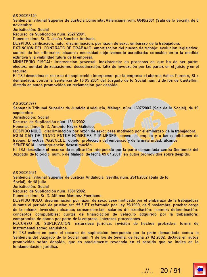 AS 2002\3140 Sentencia Tribunal Superior de Justicia Comunitat Valenciana núm. 6048/2001 (Sala de lo Social), de 8 noviembre Jurisdicción: Social Recu