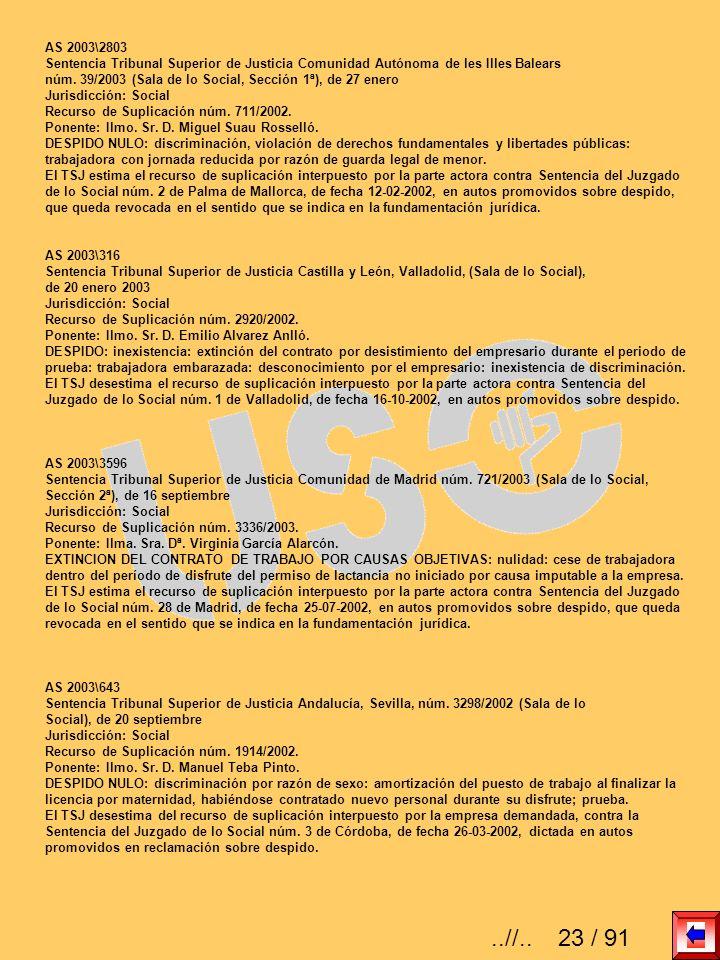 AS 2003\2803 Sentencia Tribunal Superior de Justicia Comunidad Autónoma de les Illes Balears núm. 39/2003 (Sala de lo Social, Sección 1ª), de 27 enero