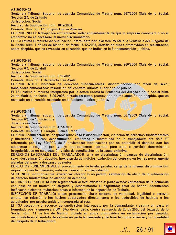 AS 2004\2402 Sentencia Tribunal Superior de Justicia Comunidad de Madrid núm. 667/2004 (Sala de lo Social, Sección 2ª), de 29 junio Jurisdicción: Soci