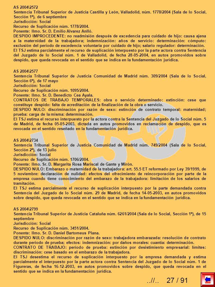 AS 2004\2572 Sentencia Tribunal Superior de Justicia Castilla y León, Valladolid, núm. 1778/2004 (Sala de lo Social, Sección 1ª), de 6 septiembre Juri