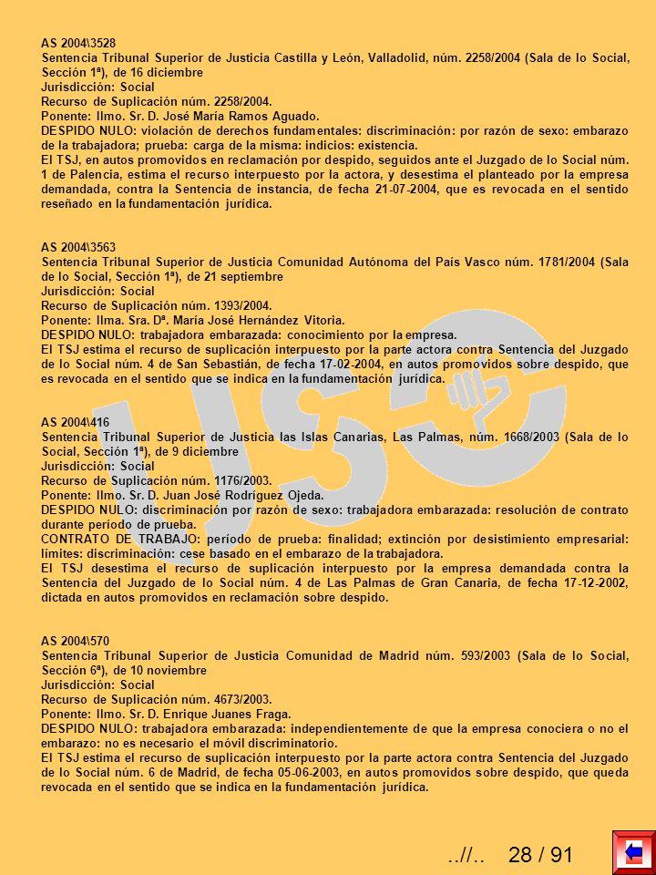AS 2004\3528 Sentencia Tribunal Superior de Justicia Castilla y León, Valladolid, núm. 2258/2004 (Sala de lo Social, Sección 1ª), de 16 diciembre Juri