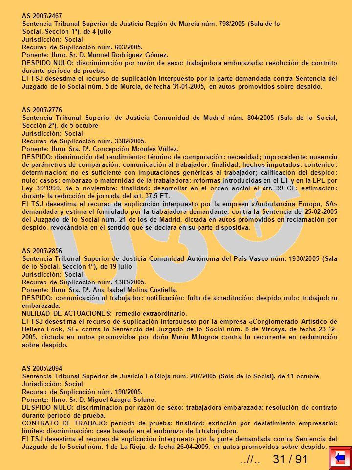 AS 2005\2467 Sentencia Tribunal Superior de Justicia Región de Murcia núm. 798/2005 (Sala de lo Social, Sección 1ª), de 4 julio Jurisdicción: Social R