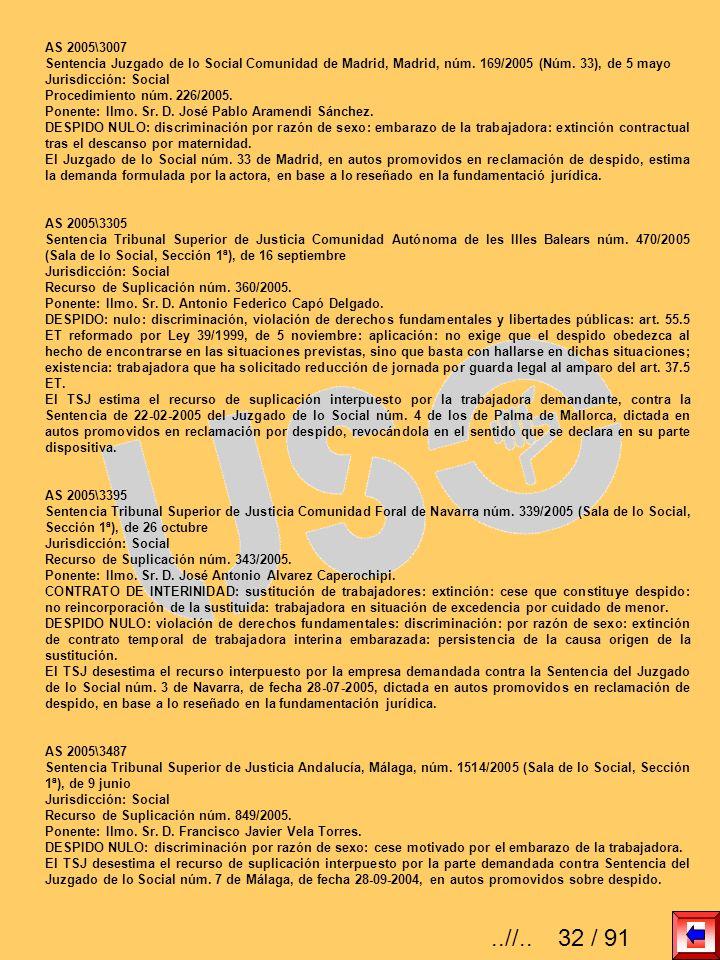 AS 2005\3007 Sentencia Juzgado de lo Social Comunidad de Madrid, Madrid, núm. 169/2005 (Núm. 33), de 5 mayo Jurisdicción: Social Procedimiento núm. 22