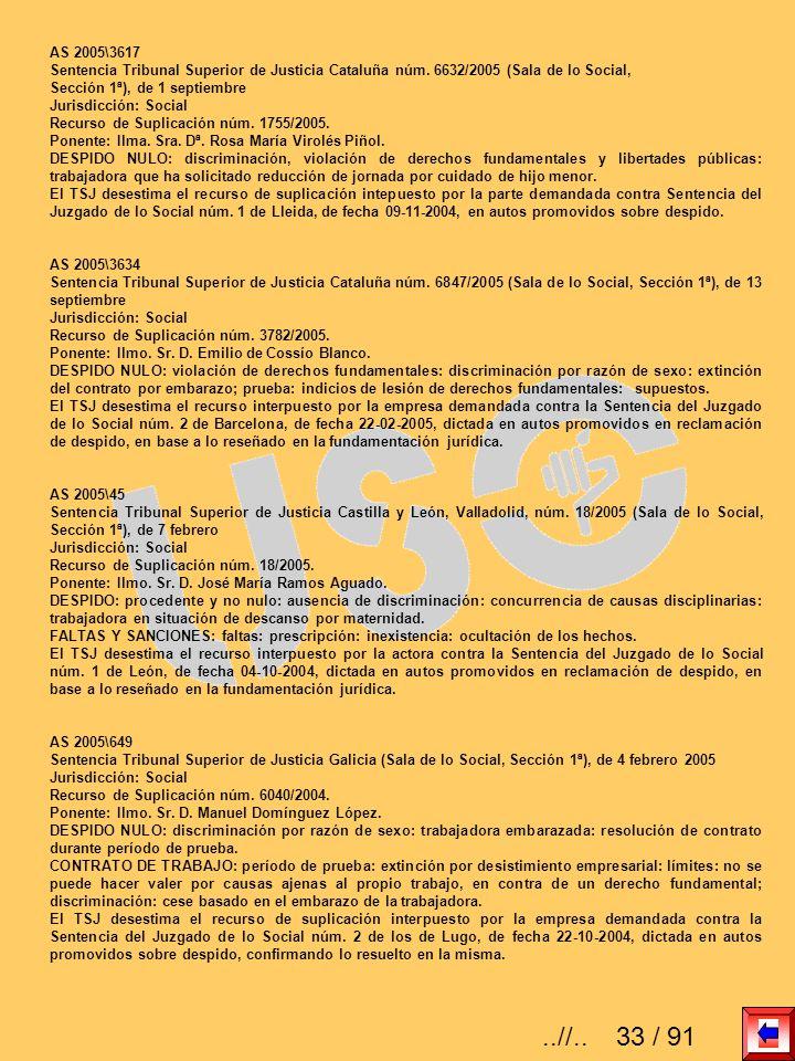 AS 2005\3617 Sentencia Tribunal Superior de Justicia Cataluña núm. 6632/2005 (Sala de lo Social, Sección 1ª), de 1 septiembre Jurisdicción: Social Rec