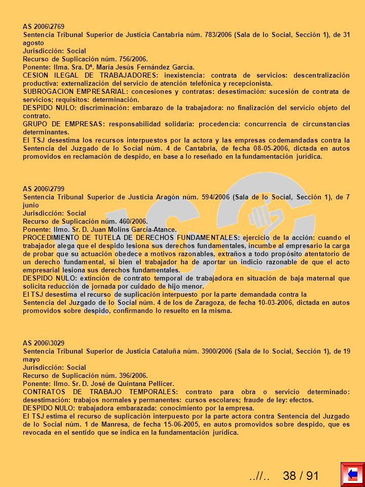 AS 2006\2769 Sentencia Tribunal Superior de Justicia Cantabria núm. 783/2006 (Sala de lo Social, Sección 1), de 31 agosto Jurisdicción: Social Recurso