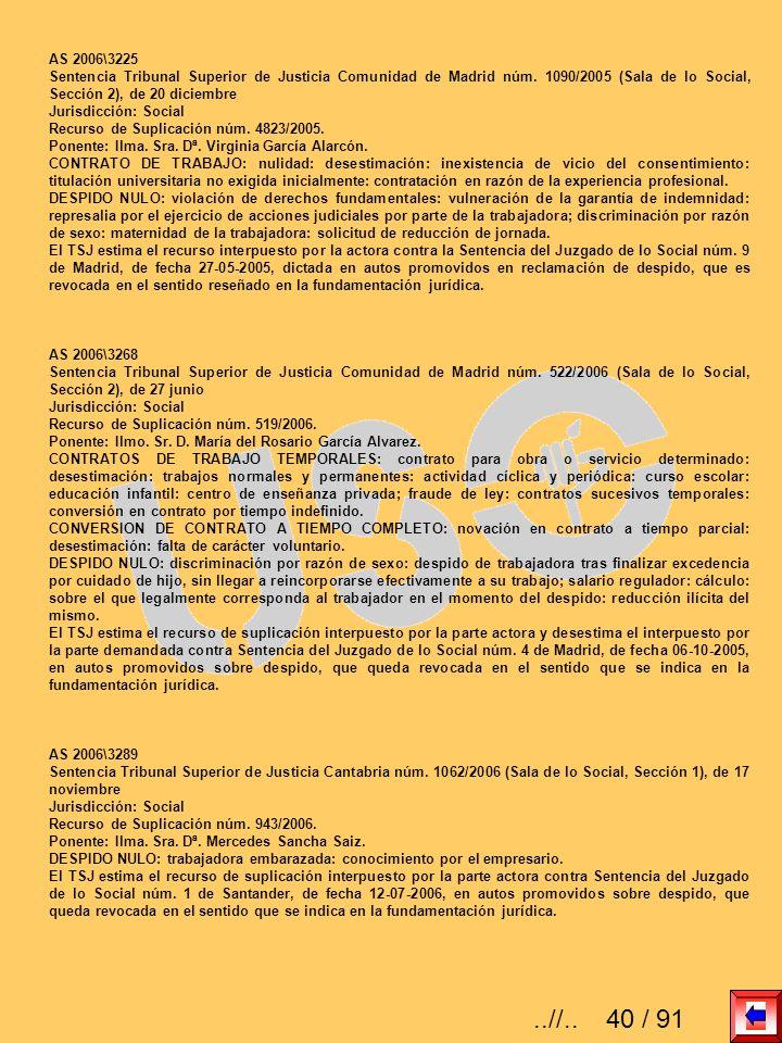 AS 2006\3225 Sentencia Tribunal Superior de Justicia Comunidad de Madrid núm. 1090/2005 (Sala de lo Social, Sección 2), de 20 diciembre Jurisdicción:
