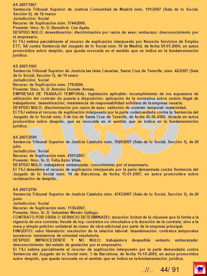 AS 2007\1867 Sentencia Tribunal Superior de Justicia Comunidad de Madrid núm. 191/2007 (Sala de lo Social, Sección 6), de 12 marzo Jurisdicción: Socia